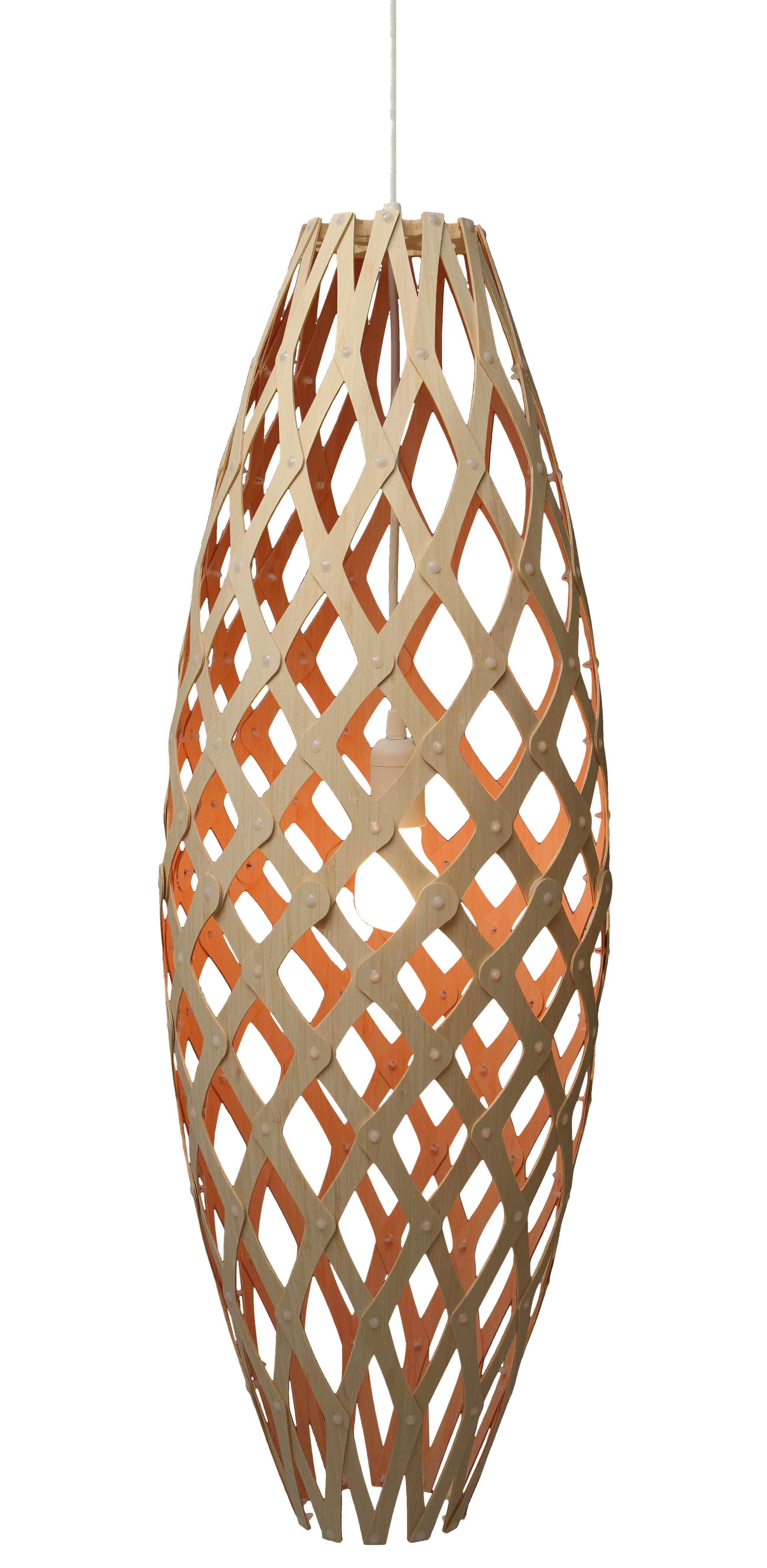 Illuminazione - Lampadari - Sospensione Hinaki - H 90 cm - Bicolore - Esclusiva di David Trubridge - Arancione/ legno naturale - Bambù