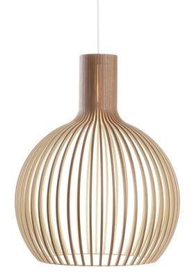 Illuminazione - Lampadari - Sospensione Octo - / Ø 54 cm di Secto Design - Noce verniciato / Cavo bianco - Doghe in betulla impiallacciate noce, Tessuto