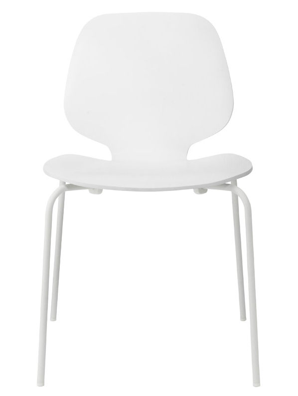 Furniture - Chairs - My Chair Stacking chair - Wood seat by Normann Copenhagen - White / White legs - Ash veneer, Lacquered steel