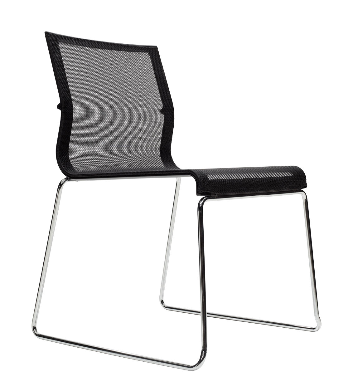 Furniture - Chairs - Stick Chair Stacking chair - Fabric seat by ICF - Black mesh / Chromium base / Black lacquered structure - Aluminium, Fabric, Steel