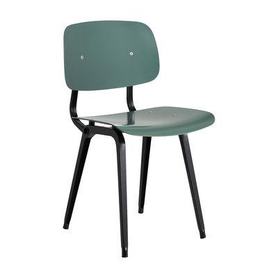 Möbel - Stühle  - Revolt Stuhl / Neuauflage 1950' - Hay - Petroleumgrün / Stuhlbeine schwarz - Recyceltes ABS, thermolackierter Stahl