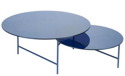 Table basse Zorro / 2 plateaux - Verre - La Chance bleu en verre