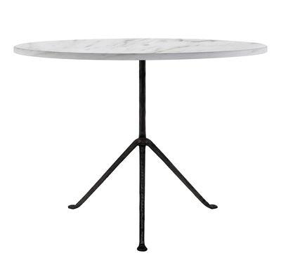 Table Officina Outdoor / Ø 100 cm - Plateau Marbre - Magis noir,marbre blanc en métal