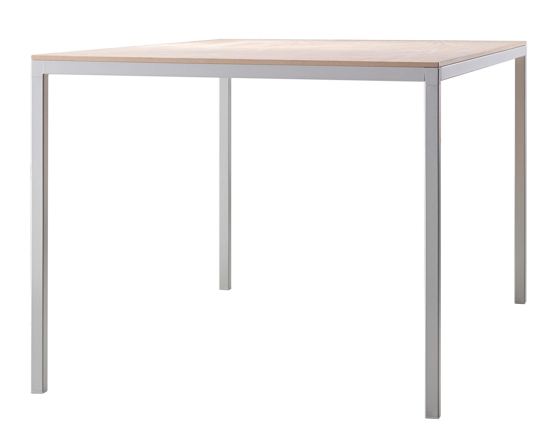 Table rectangulaire Dry / 160 x 80 cm - Plateau bois - Ondarreta blanc/bois naturel en métal/bois