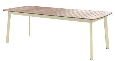 Table rectangulaire Shine / Plateau Teck - 225 x 100 cm - Emu taupe,teck en métal