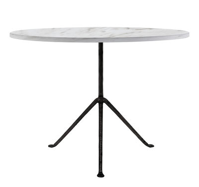 Table ronde Officina Outdoor / Ø 100 cm - Plateau Marbre - Magis blanc/noir en métal/pierre