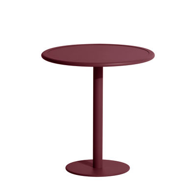 Jardin - Tables de jardin - Table ronde Week-End / Bistrot - Aluminium - Ø 70 cm - Petite Friture - Bordeaux - Aluminium thermolaqué époxy