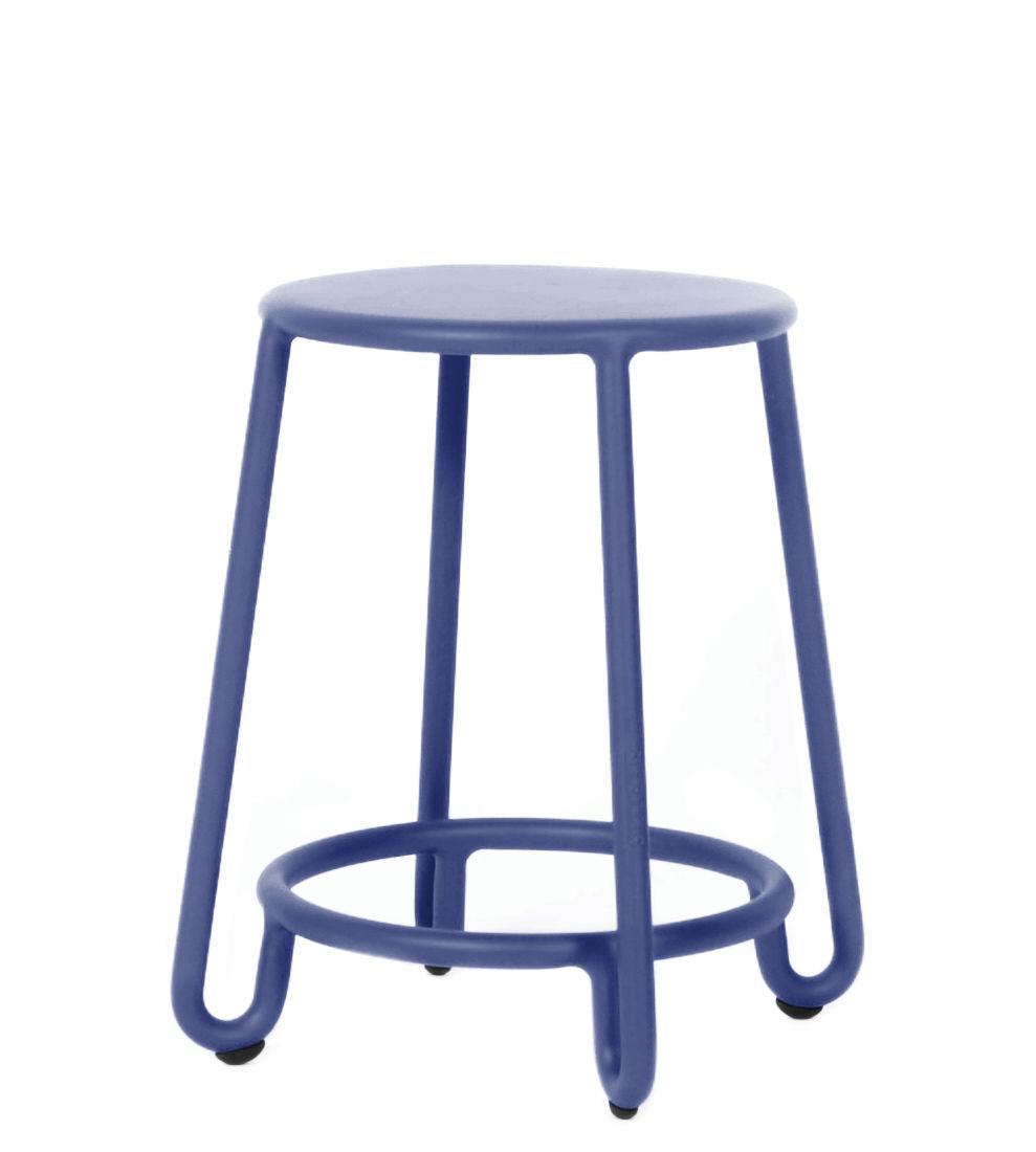 Mobilier - Tabourets bas - Tabouret Huggy / H 45 cm - Aluminium - Maiori - Bleu aube - Aluminium laqué époxy