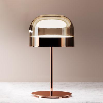 Equatore small Tischleuchte / LED - Glas - H 43 cm - Fontana Arte - Kupfer,Rauchbraun