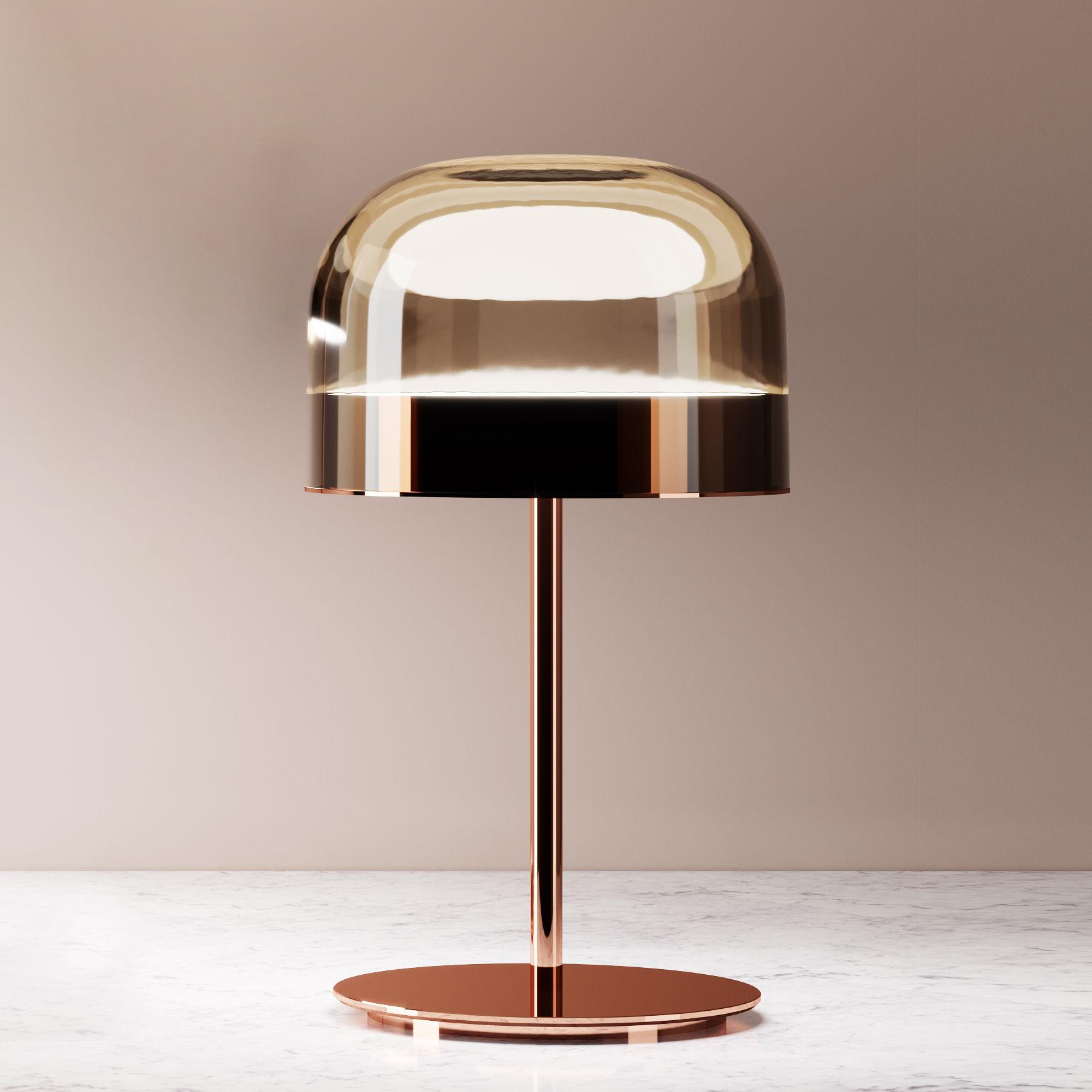 Leuchten - Tischleuchten - Equatore small Tischleuchte / LED - Glas - H 43 cm - Fontana Arte - H 43 cm / kupfer & braun - geblasenes Glas, Metall