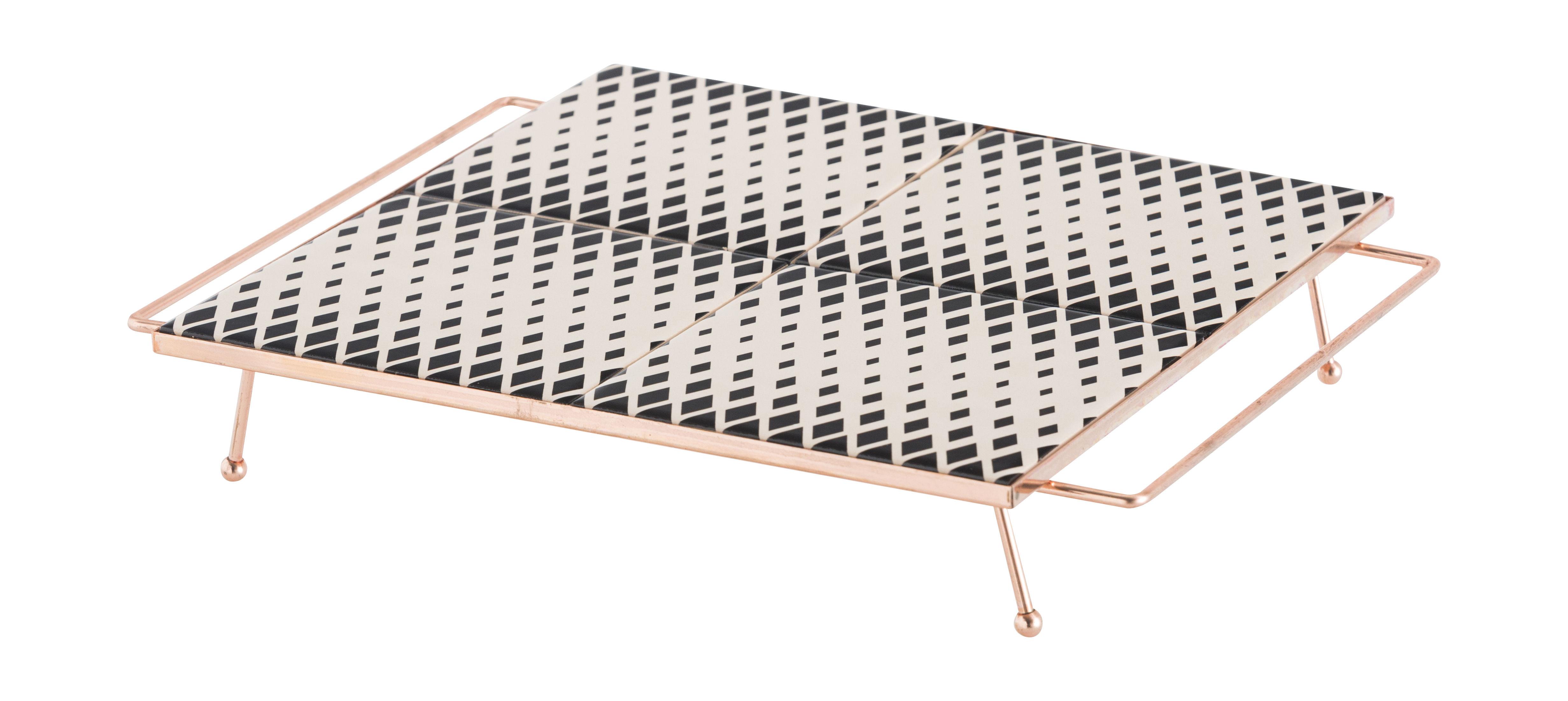 Tableware - Trays - Mix&Match Tray - 30 x 30 cm / Ceramic & copper by Gan - Black & white - Ceramic, Copper plated aluminium