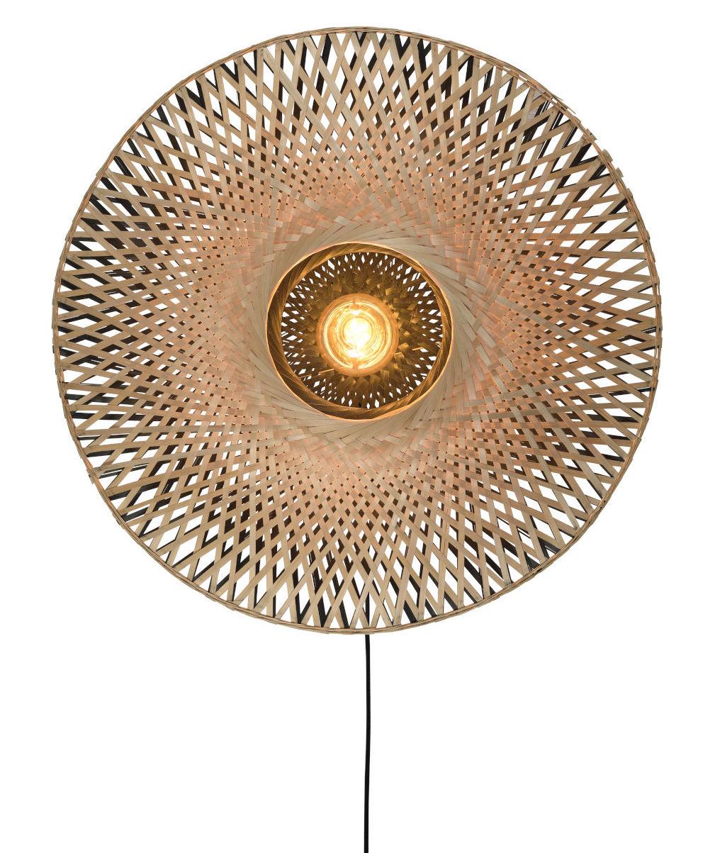 Luminaire - Appliques - Applique avec prise Kalimantan / Bambou - Ø 87 cm - GOOD&MOJO - Ø 87 cm / Noir & naturel - Bambou