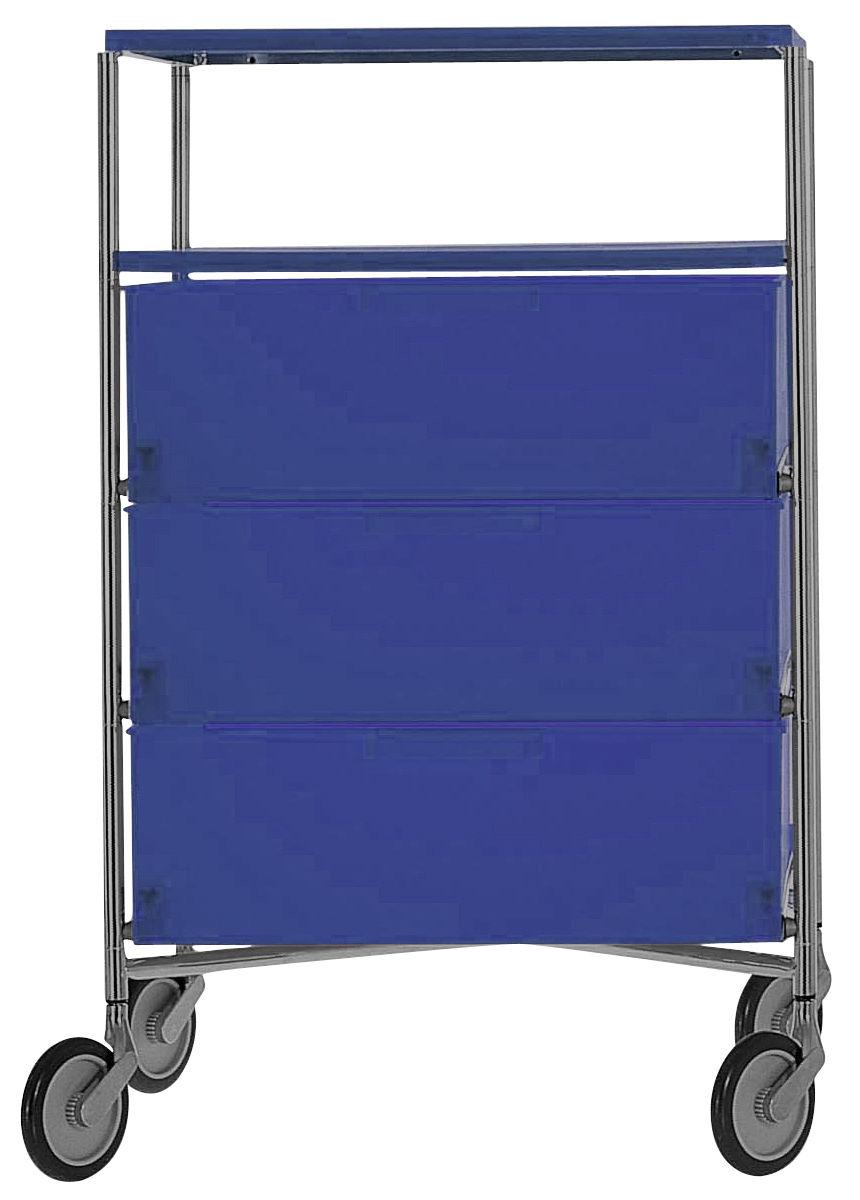 Mobilier - Meubles de rangement - Caisson à roulettes Mobil / 4 tiroirs - Kartell - Cobalt translucide - Acier chromé