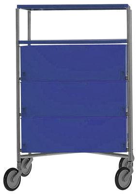 Mobilier - Meubles de rangement - Caisson à roulettes Mobil / 4 tiroirs - Kartell - Cobalt - Acier chromé