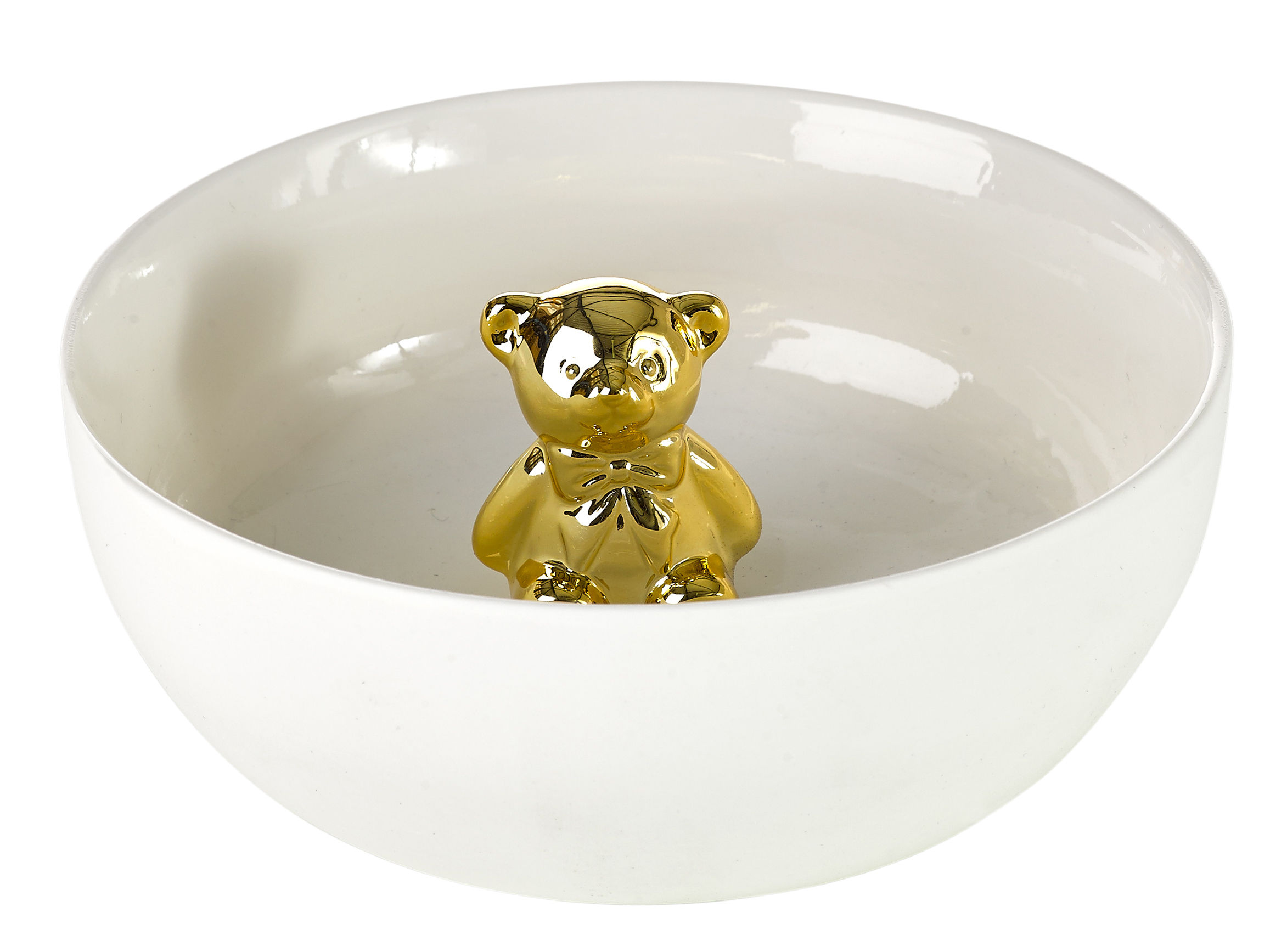 Interni - Per bambini - Ciotola Gold bear / Orso in rilievo - Pols Potten - Bianco / Oro - Porcellana