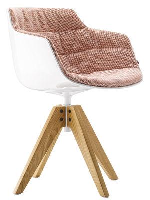 Möbel - Stühle  - Flow Slim Drehsessel / gepolstert - 4 Stuhlbeine aus Eiche - MDF Italia - Bezug rot / Stuhlbeine Eiche - Gewebe, lackiertes Aluminium, Polykarbonat