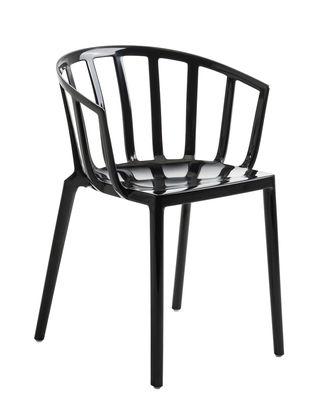 Mobilier - Chaises, fauteuils de salle à manger - Fauteuil empilable Generic AC Venice / Polycarbonate brillant - Kartell - Noir brillant - Polycarbonate