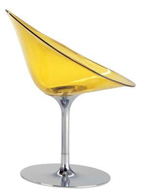 Mobilier - Chaises, fauteuils de salle à manger - Fauteuil pivotant Ero/S/ en polycarbonate - Kartell - Jaune transparent - Acier chromé, Polycarbonate