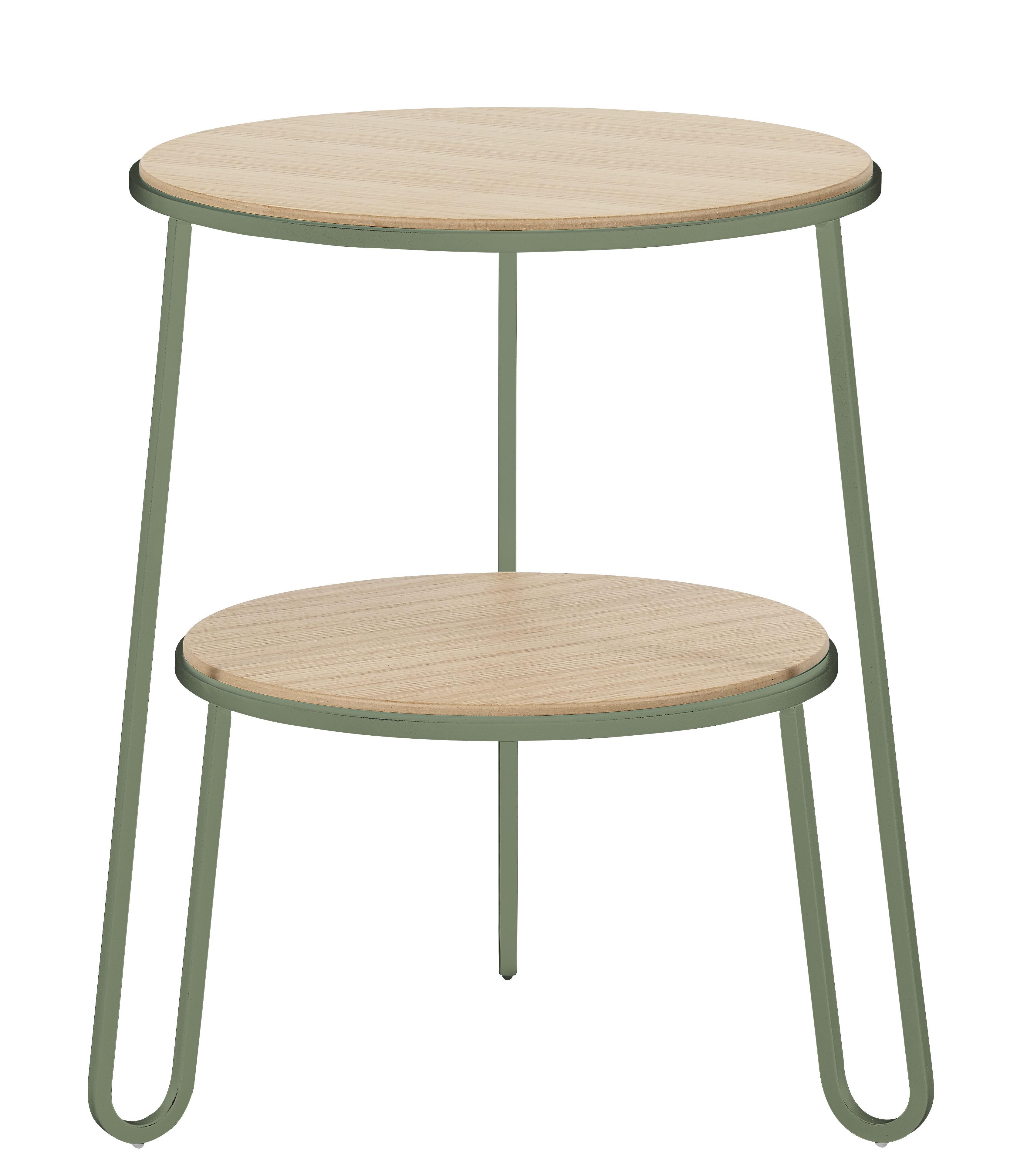 Mobilier - Tables basses - Guéridon Anatole / Ø 40 x H 50 cm - Hartô - Vert de gris - Acier, MDF