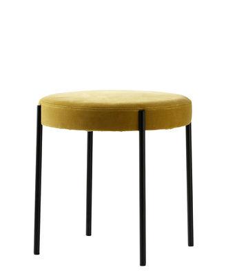 Möbel - Hocker - Series 430 Hocker / gepolstert - Velours - Verpan - Velours / ockergelb - rostfreier Stahl, Schaumstoff, Velours