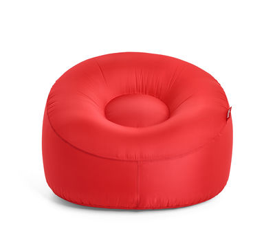 Furniture - Armchairs - Lamzac O Inflatable armchair - / Fabric - Ø 103 cm by Fatboy - Red - Nylon outdoor fabric