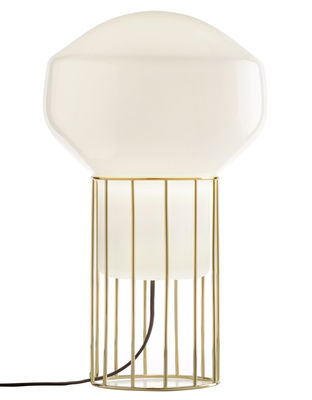 Lampe de table Aérostat Piccola / H 37 cm - Fabbian blanc,laiton en verre