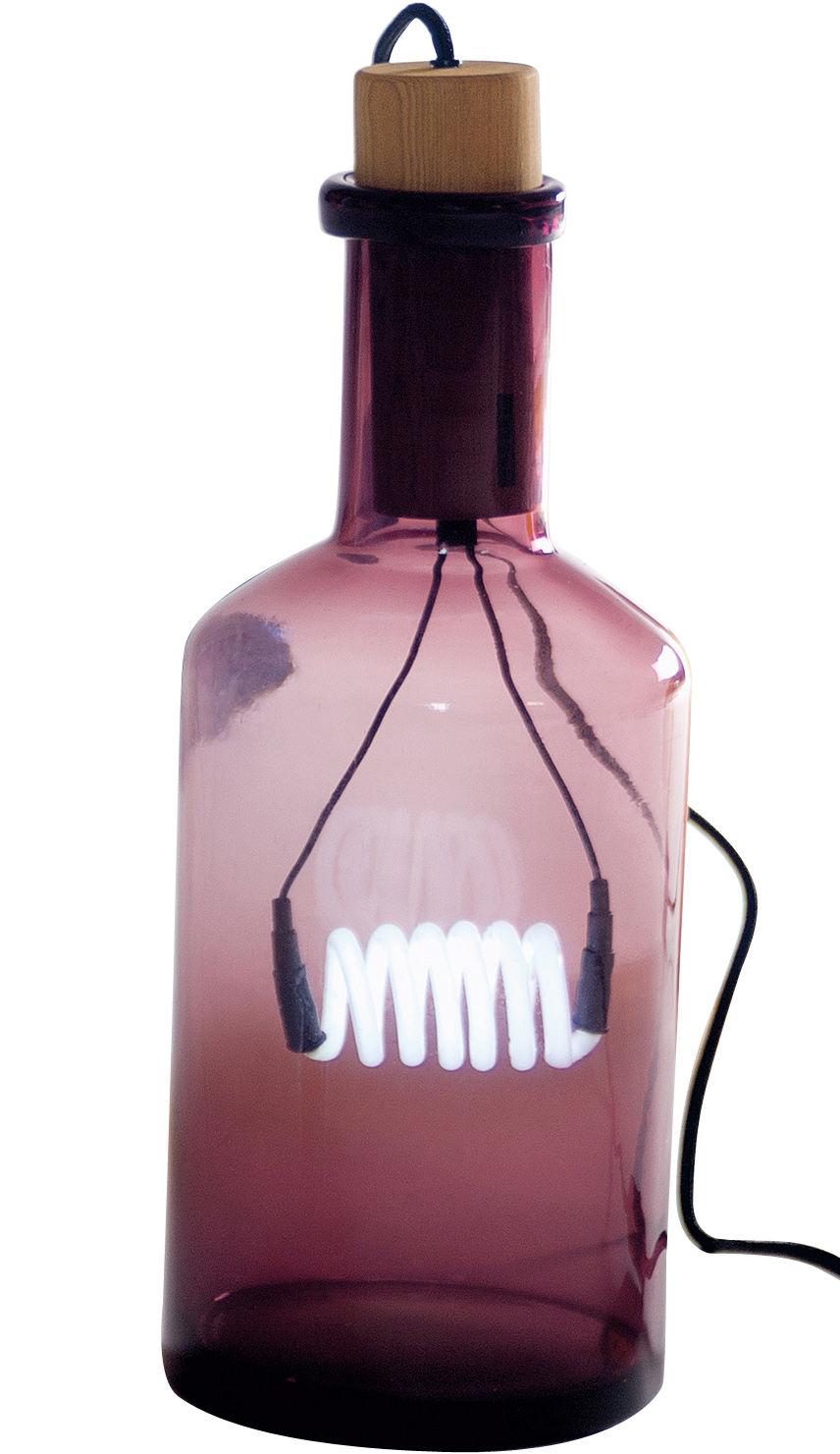 Luminaire - Lampes de table - Lampe de table Bouché - Seletti - Violet - Bois naturel, Verre