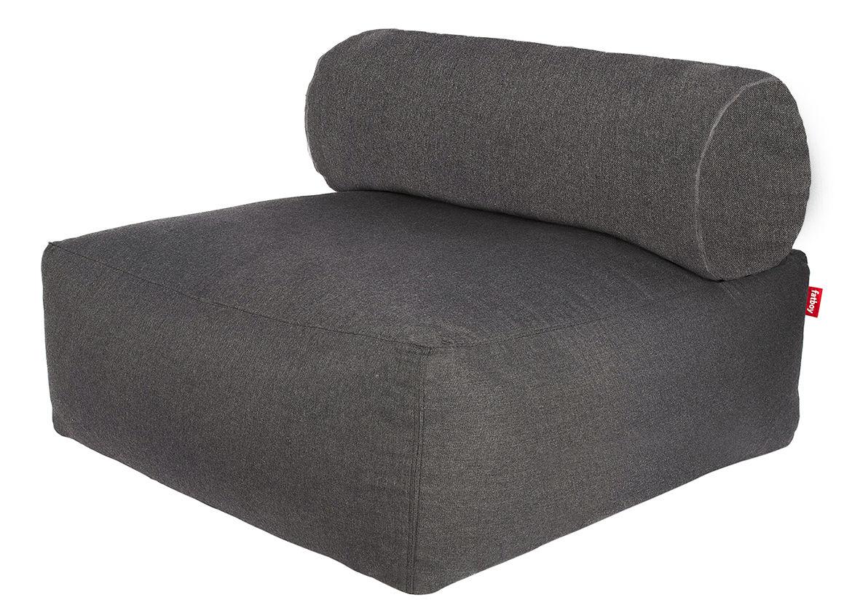 Möbel - Lounge Sessel - Tsjonge Lounge Sessel - Fatboy - Dunkelgrau / Rückenkissen grau gestreift - Gewebe, PVC, Schaumstoff