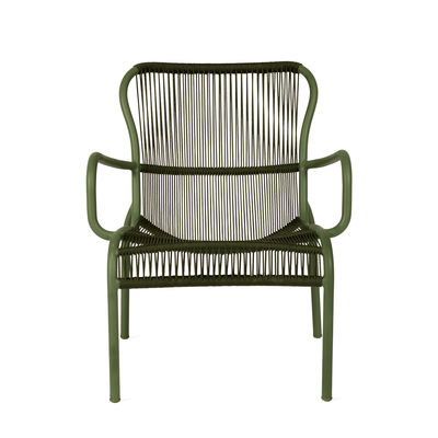 Furniture - Armchairs - Loop Lounge Rope Low armchair - / Stackable - Hand-woven polypropylene cord by Vincent Sheppard - Green - Polypropylene rope, Thermolacquered aluminium