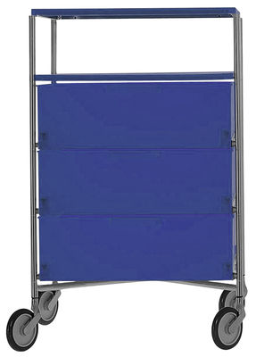 Furniture - Bookcases & Bookshelves - Mobil Mobile container - With 4 drawers by Kartell - Cobalt - Chromed steel