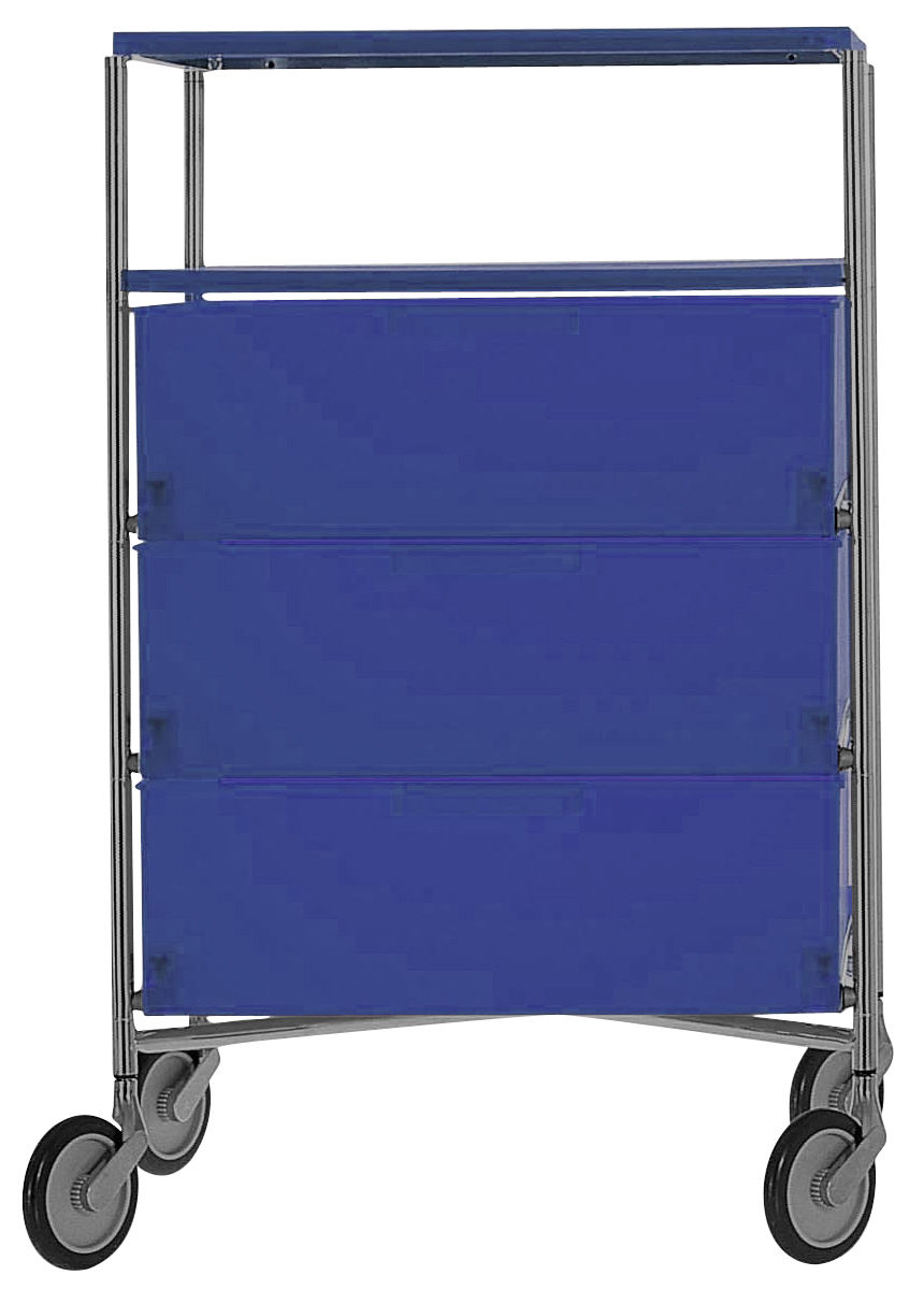 Furniture - Shelves & Storage Furniture - Mobil Mobile container - With 4 drawers by Kartell - Cobalt - Chromed steel