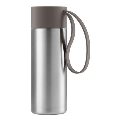 Arts de la table - Tasses et mugs - Mug isotherme To Go Cup / Avec couvercle - 0,35 L - Eva Solo - Taupe - Acier inoxydable, Plastique, Silicone