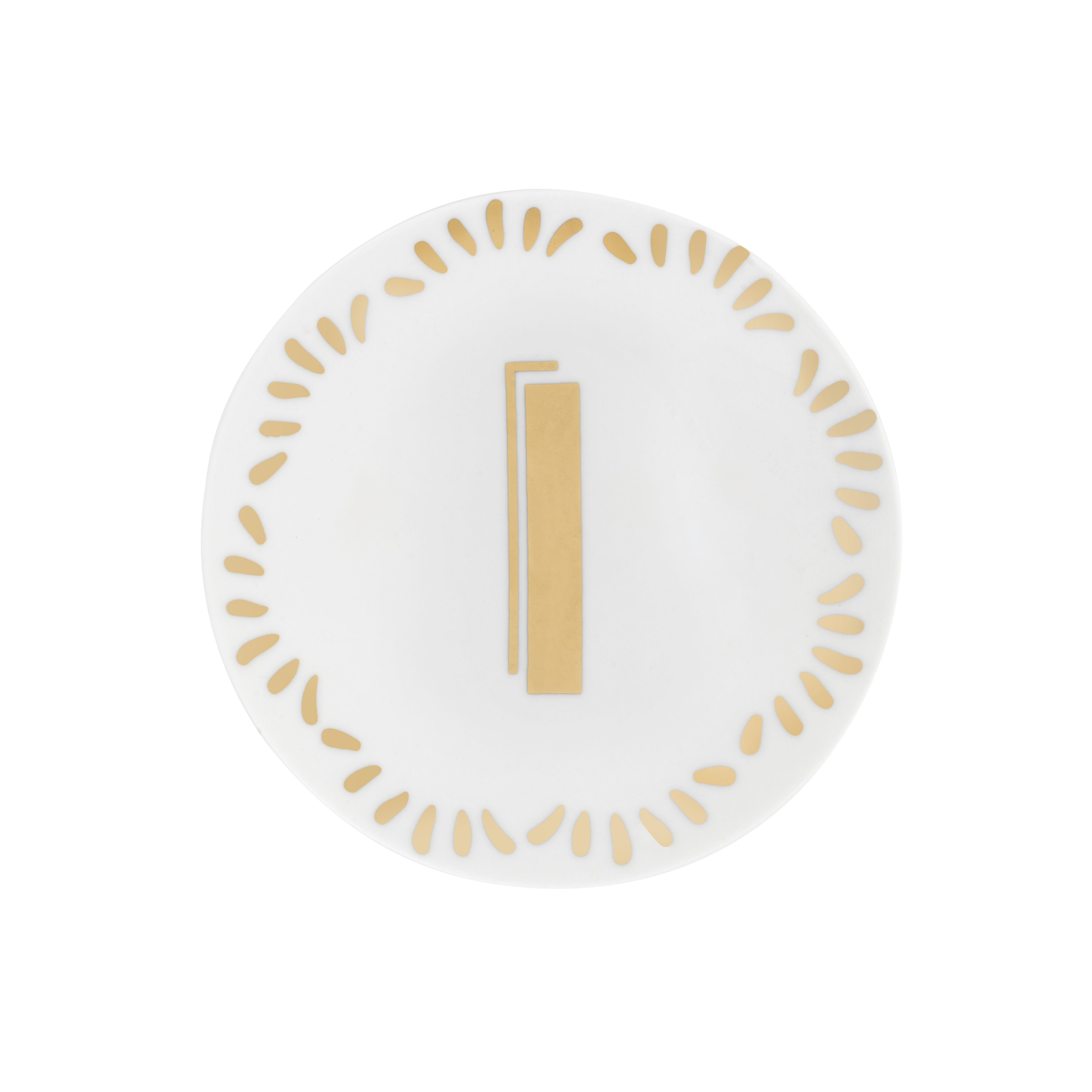 Tableware - Plates - Lettering Petit fours plates - Ø 12 cm / Letter I by Bitossi Home - Letter I / Gold - China