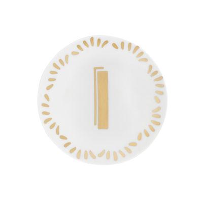 Tavola - Piatti  - Piatto per dolcetti Lettering - Ø 12 cm / Lettera I di Bitossi Home - Lettera I / Or - Porcellana