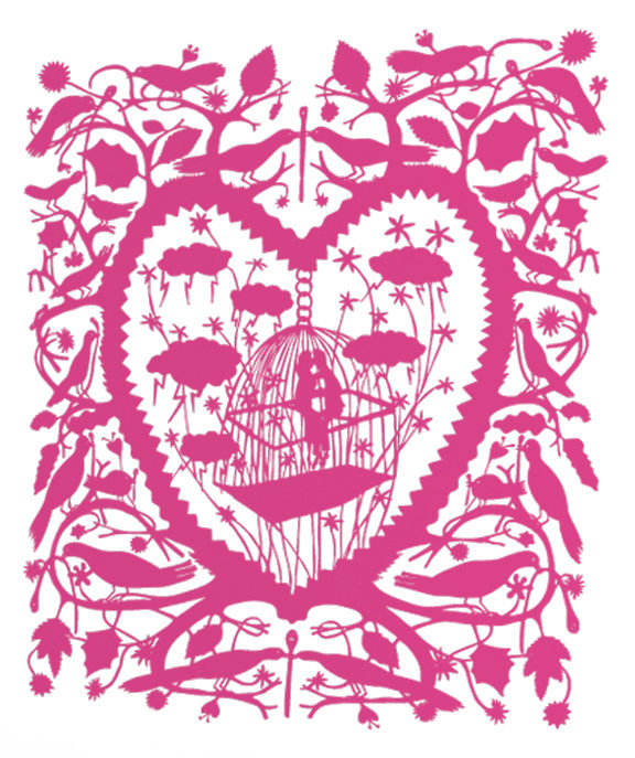 Déco - Stickers, papiers peints & posters - Sticker Caged Lovers - Domestic - Rose - Vinyle