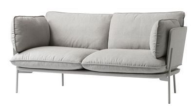 Furniture - Sofas - Cloud LN2 Straight sofa - 2 seaters - L 168 cm by &tradition - Grey - Kvadrat fabric, Lacquered metal