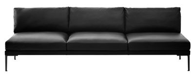 Furniture - Sofas - Steeve Straight sofa - Leather 3 seaters - Without armrest by Arper - Black leather / Wood / Black legs - Aluminium, Leather, Oak tinted wengé