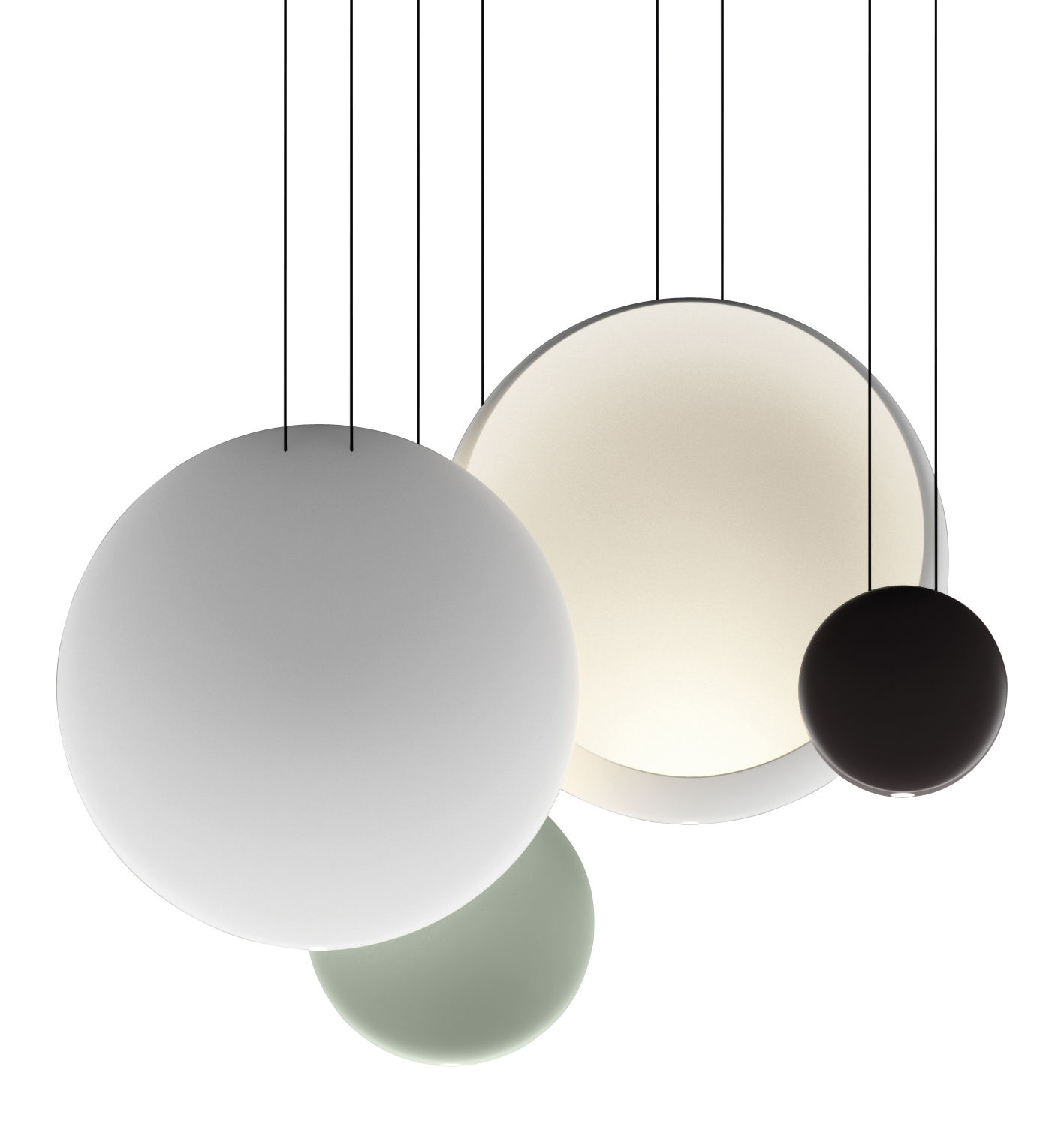 Luminaire - Suspensions - Suspension Cosmos LED / Set de 4 suspensions - L 86 cm - Vibia - Vert  Ø27 / Chocolat Ø19 / 2 x Blanc Ø48 - Polycarbonate