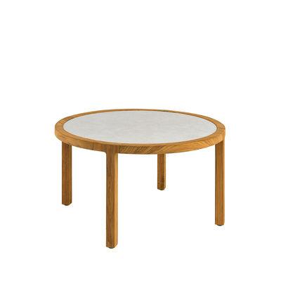 Table basse Grand Life / Ø 77 x H 45 cm - Pierre céramique & teck naturel - Ethimo blanc/bois naturel en bois/pierre