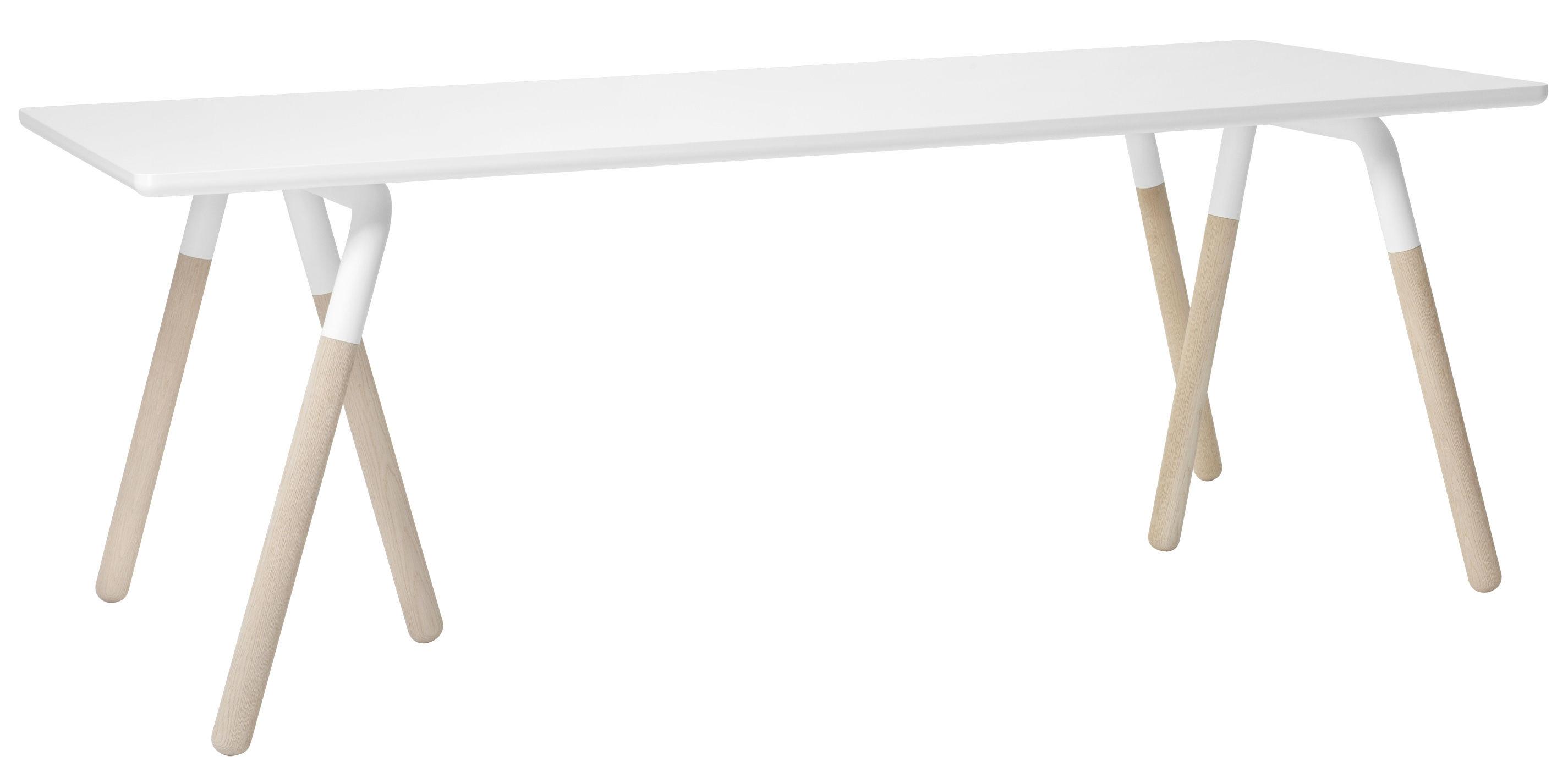 Mobilier - Tables - Table rectangulaire Raft / 200 x 90 cm - &tradition - Blanc - Acier laqué, Chêne sablé, Laminé