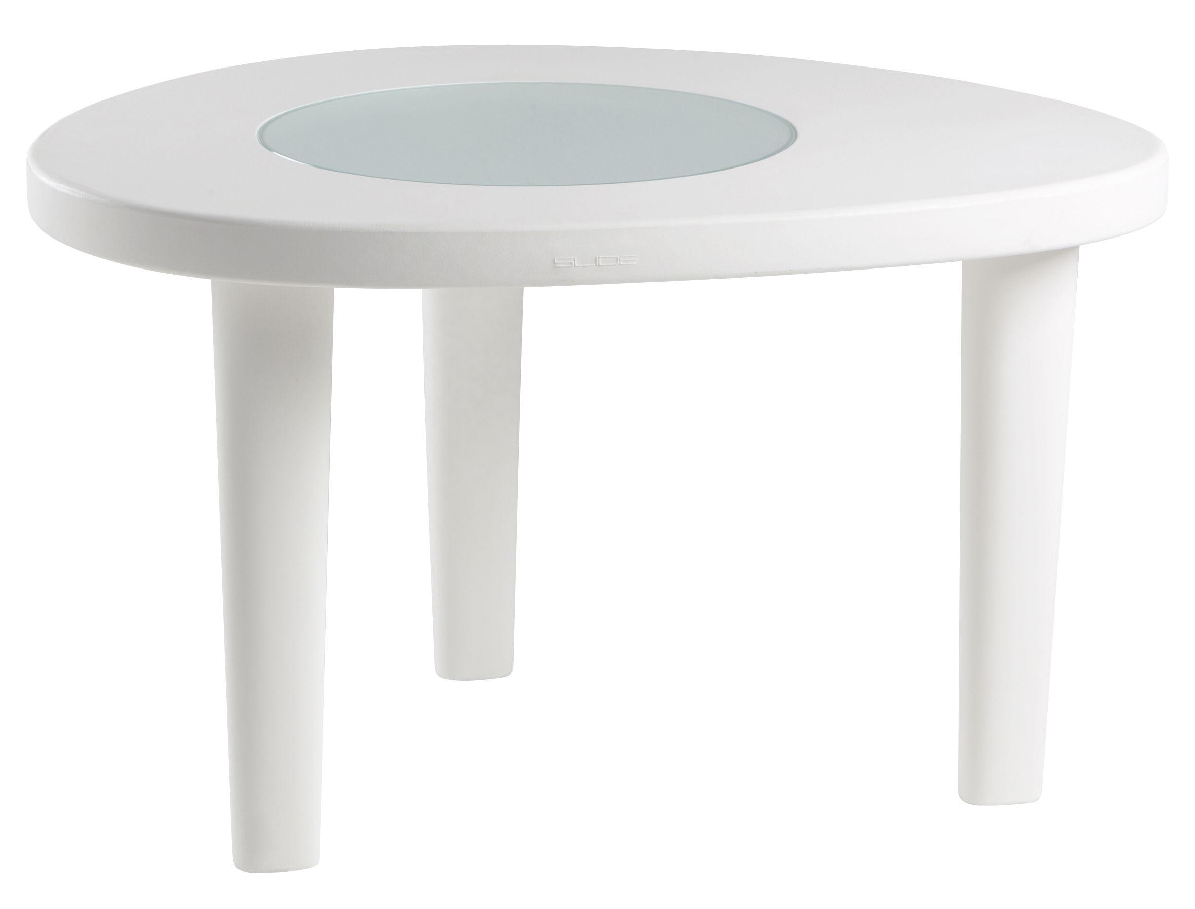 Outdoor - Tables de jardin - Table ronde Coccodé / 100 x 120 cm / Plastique & verre - Slide - Blanc / Centre transparent - Polyéthylène recyclable, Verre trempé