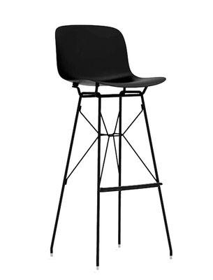 Mobilier - Tabourets de bar - Tabouret de bar Troy / Plastique & pieds fils d'acier - H 77,5 cm - Magis - Noir - Acier, Polypropylène