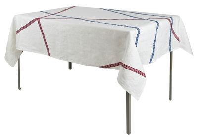 Tavola - Tovaglie e Tovaglioli - Tovaglia in tessuto Lugo - / 180 x 140 cm - tessuto di Internoitaliano - Blu & Rosso - Puro lino