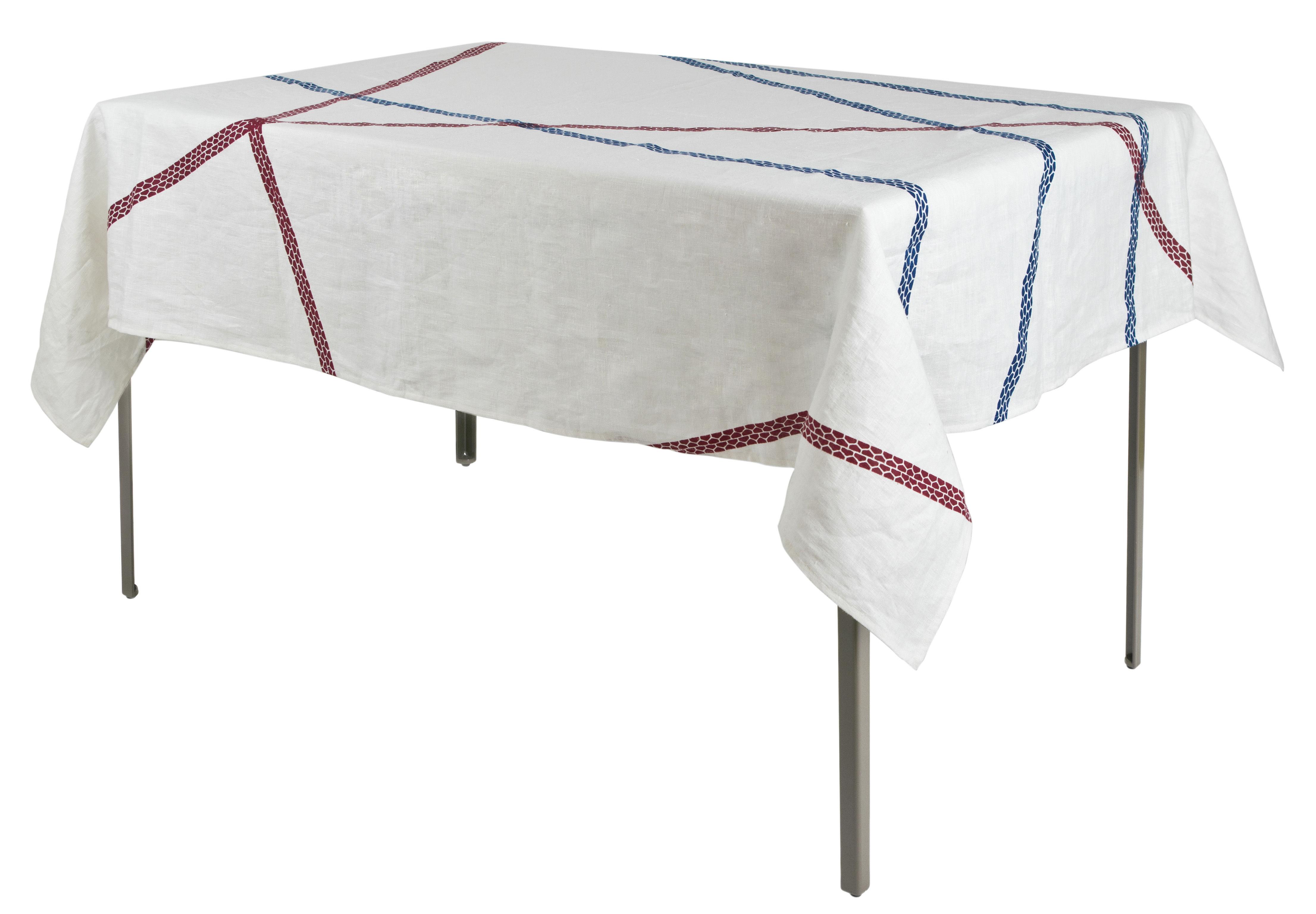 Tavola - Tovaglie e Tovaglioli - Tovaglia in tessuto Lugo - / 180 x 140 cm - tessuto di Internoitaliano - Blu & Rosso - Pur lin