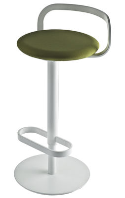 Furniture - Bar Stools - Mak Adjustable bar stool - Pivoting - Fabric padded seat by Lapalma - Green fabric seat / White frame - Fabric, Lacquered stainless steel