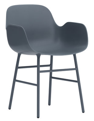 Furniture - Chairs - Form Armchair - Metal leg by Normann Copenhagen - Blue - Lacquered steel, Polypropylene