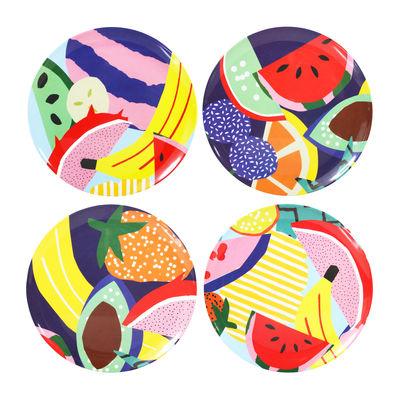 Arts de la table - Assiettes - Assiette Fruits / Mélamine - Set de 4 - & klevering - Fruits multicolores - Mélamine