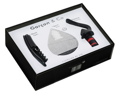 Tableware - Wine Accessories - Garçon & Co Box - / Set of 3 pieces by L'Atelier du Vin - Black - Plastic material, Steel