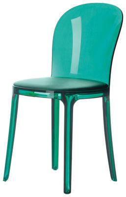 Mobilier - Chaises, fauteuils de salle à manger - Chaise Murano Vanity Chair / Polycarbonate & assise tissu - Magis - Vert - Coussin vert émeraude - Polycarbonate, Tissu