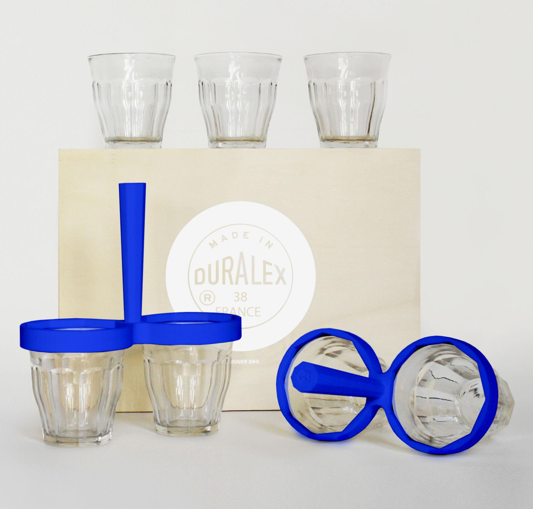 Arts de la table - Saladiers, coupes et bols - Coffret Designerbox#38 / Kit coupelles apéro : 2 poignées + 4 verres Duralex - 5.5 Designers - Designerbox - Poignées bleues / Verres transparent - Plastique TPE, Verre